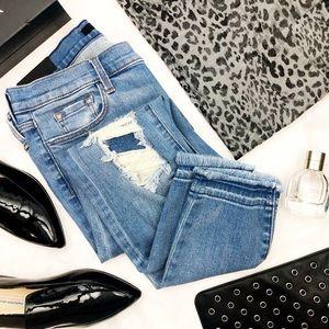 J Brand Rip & Repair Raw Hem Low Rise Ankle Jeans